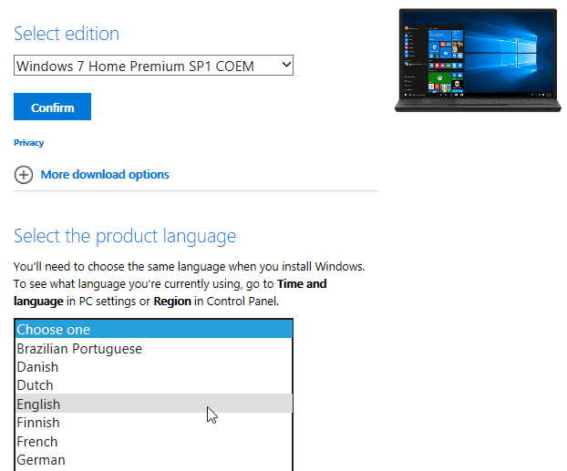 Select Windows 7 Language